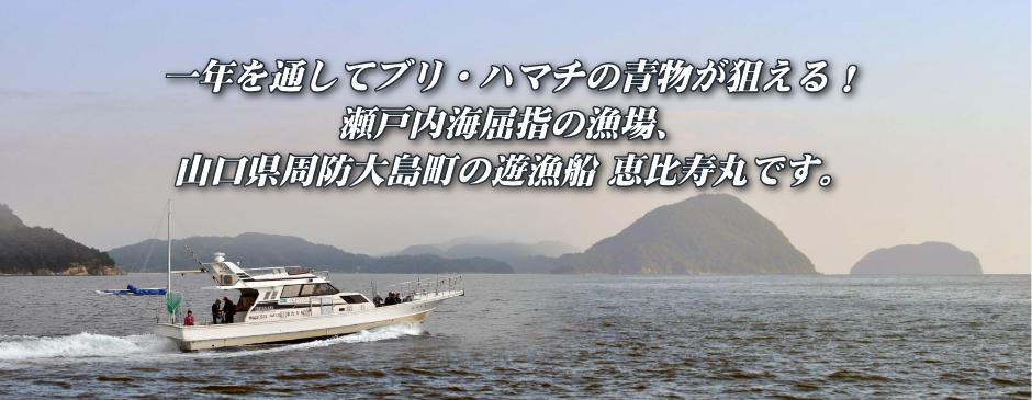 一年を通してブリ・ハマチの青物が狙える!一年瀬戸内海屈指の漁場、山口県周防大島町で遊漁船を運用している恵比寿丸です。